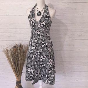 AGB Dress. Black & White Floral Halter Dress-6